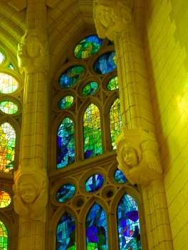 surrounded by beautiful stained glass windows