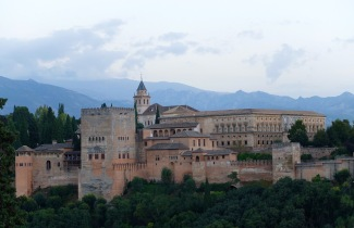 Alhambra against the setting sky