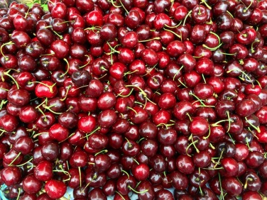 fresh cherries and
