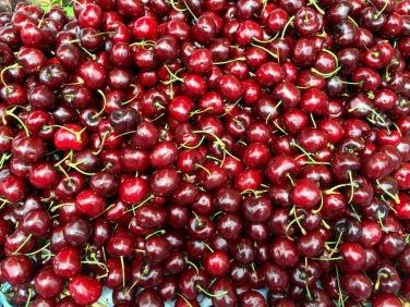 fresh cherries and